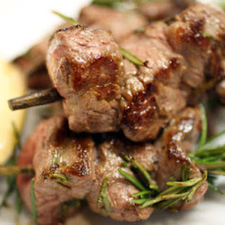 Lamb and Rosemary Brochettes with Apricot Crème Fraîche