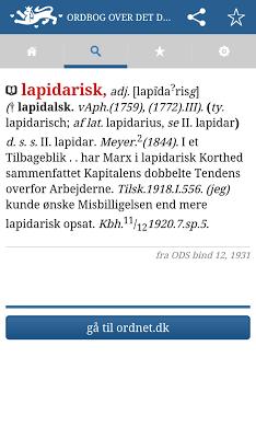 Ordbog over det danske Sprog - screenshot