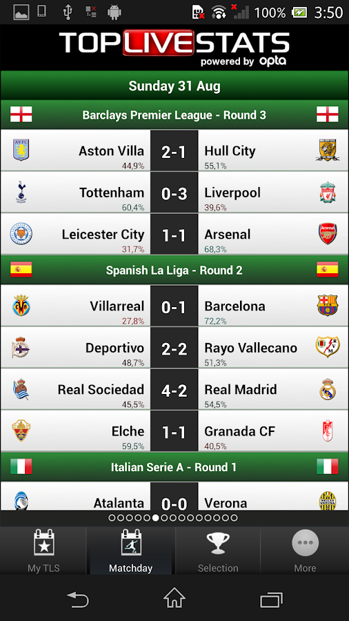 TLS Soccer - Top Live Stats- screenshot
