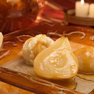 Roasted Pears With Vanilla Caramel Sauce.