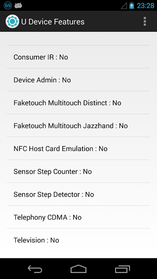 Your Device Features - screenshot