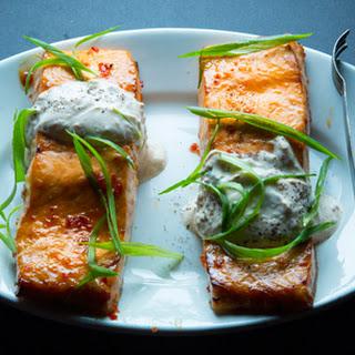 Chile-Garlic Broiled Salmon with Ginger Yogurt Sauce