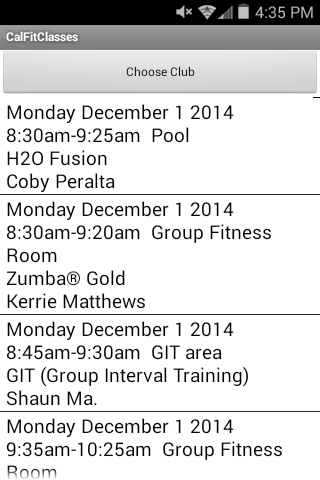 Cal Fit Class Times