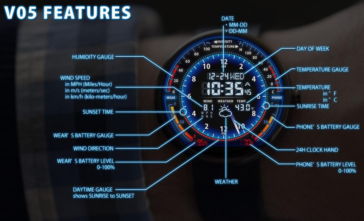 Faces for moto 360 - V05 Watchface For Moto 360 Screenshot