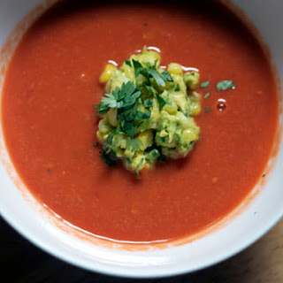 Fresh Tomato Soup with Roasted Corn Guacamole.