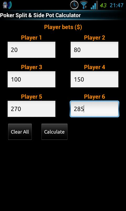 Poker Split/Sidepot Calculator- screenshot