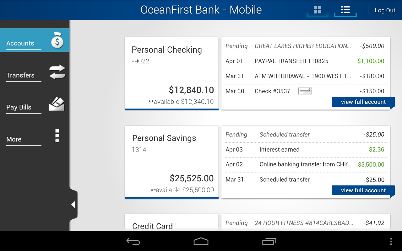 OceanFirst Bank - Mobile - screenshot
