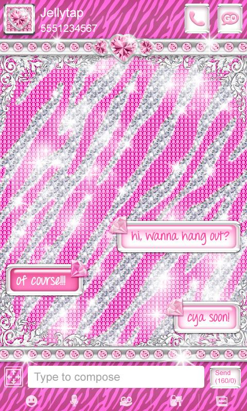 ♦ BLING Theme Pink Zebra SMS ♦ - screenshot