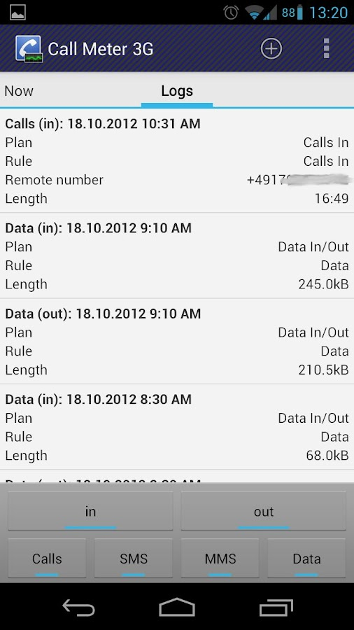 Call Meter 3G: THE monitor app- screenshot