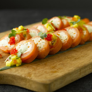 Smoked Salmon and Crab Roulade.