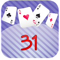Thirty one - 31 card game icon