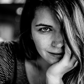 The Look by Jure Makovec - Black & White Portraits & People ( look, b&w, black and white, portrait, woman, person )