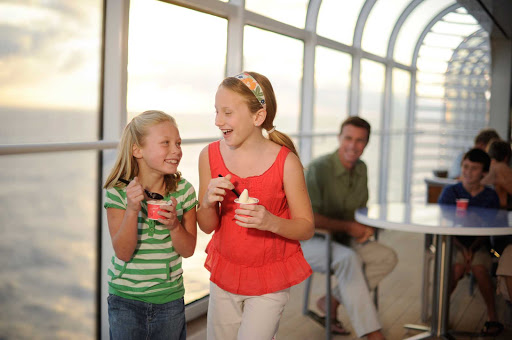 Disney-Dream-Girls-Snack - Disney Dream offers passengers fun snacks and dishes in a spacious dining area with nice views.