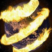 Globe in Fiery Spiral Live WP