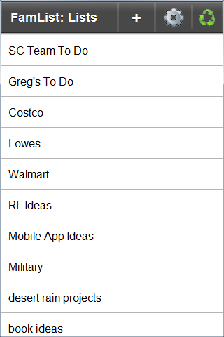 FamList: Live Lists Everywhere - screenshot