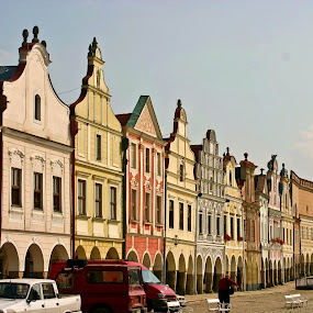Renaissance Houses On The Square In Telc, Czech Republic by Brenda Hooper - Buildings & Architecture Homes ( brenda, houses, painted, mccutcheon, color, blue, beautiful, czech, lovely, bricks, landscape, hooper,  )