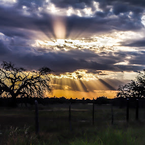Accented by Clouds by Robert Marquis - Landscapes Cloud Formations ( clouds, nature, painted picture, outdoors, sunrays, landscape, light,  )