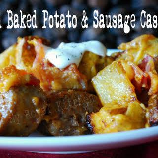 Loaded Baked Potato & Sausage Casserole.