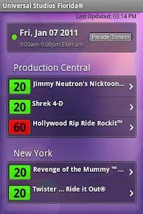 Universal Studios Wait Times - screenshot thumbnail