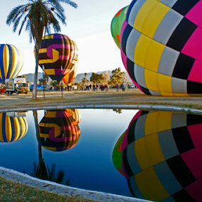 Reflection Pond by Tina Hailey - Transportation Other ( reflection, hot air balloons, , air, transport )