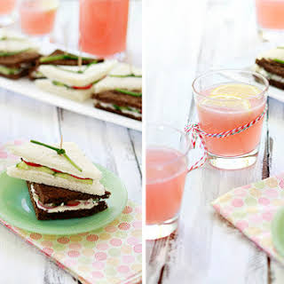 Cucumber Tea Sandwich with Radish and Watercress.