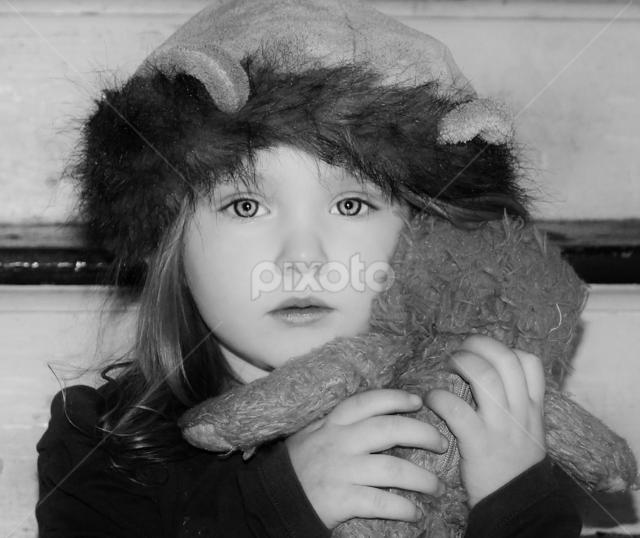 Nevaeh the Lioness & Cub B & W by Cheryl Korotky - Black & White Portraits & People ( child, lion, model, children in costumes, children in animal hats, a heartbeat in time photography, b & w, nevaeh, , black and white, b&w, portrait )