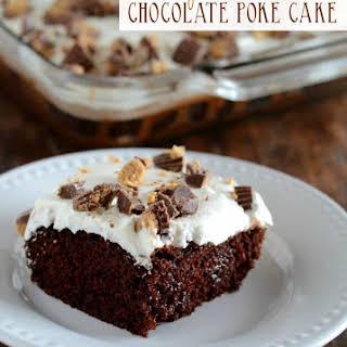 Peanut Butter Chocolate Poke Cake.