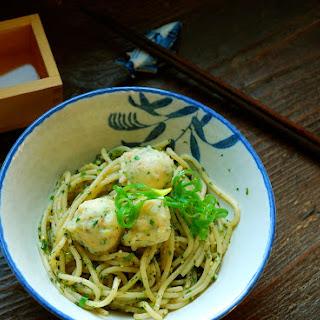 Shrimp Dumplings with Asian Herb Noodles.