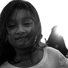 Windy Friday by Jon Soriano - Babies & Children Child Portraits ( girls, blackandwhite, girl, black and white, fujifilm, fuji, kids, kids portrait )