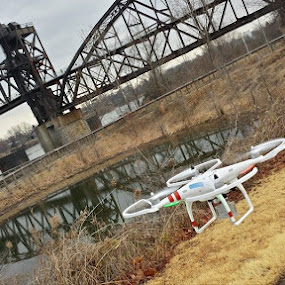Trying out a idea I had.  So far so good. Will have to wait till AFTER work to see how it turned out. :-( by Matt Mcclenahan - Buildings & Architecture Bridges & Suspended Structures ( little rock, drone, quad copter, dj phantom, gopro, train, clinton, remote, bridge, pedestrian walkway, rc, arkansas )