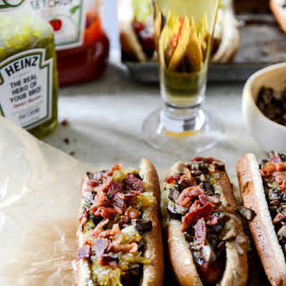 Loaded Cheddar Hot Dogs.