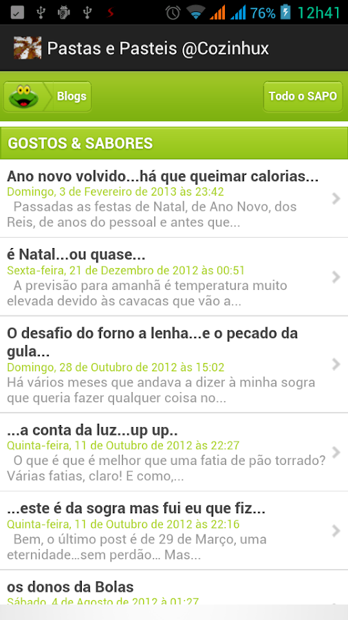 Pastas e Pasteis @ Cozinhux - screenshot