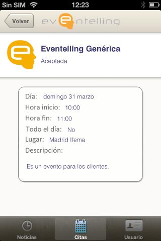 Eventelling - screenshot