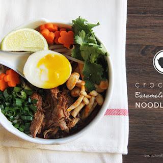 Crockpot Caramelized Pork Noodle Soup for #SundaySupper.