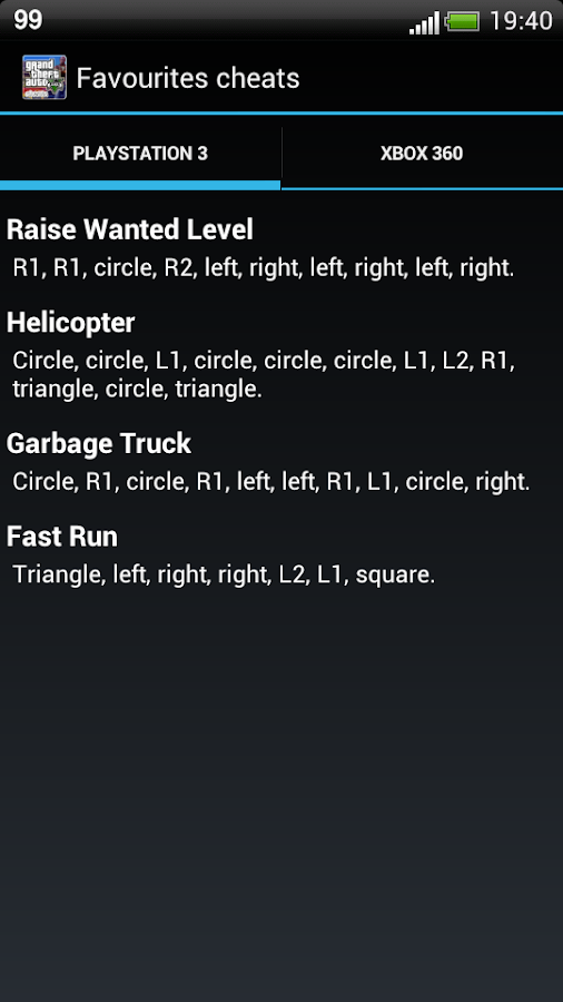 GTA 5 - Cheats codes - screenshot