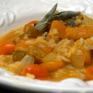 Pumpkin Risotto with Sage and Cherry Tomatoes.