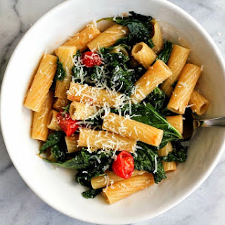 Rigatoni with Kale and Tomatoes in Brown Butter.