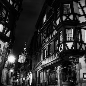 colmar centre by Pierre Husson - City,  Street & Park  Historic Districts ( colmar; france; city; old town center; black and white hdr,  )