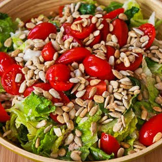 Tuna Fish and Tomato Salad with Sunflower Seeds.