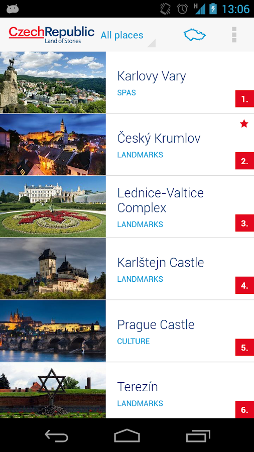 TOP100 Czech Republic's sights - screenshot