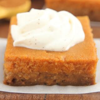 Pumpkin Pie Bars with Greek Yogurt Whipped Cream.