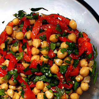 Chickpea Salad with Capers and Roasted Red Peppers.