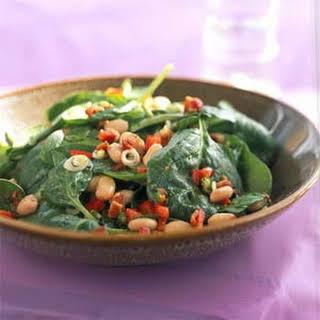 Spinach, White Bean, and Bacon Salad with Maple-Mustard Dressing.