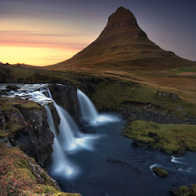 Synchronicity by José Ramos - Landscapes Mountains & Hills ( kirkjufell, iceland, mountain, sunset, waterfall, longexposure )