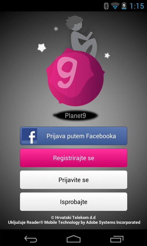 Planet 9 Aplikacija - screenshot