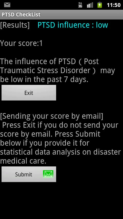 PTSD CheckList - screenshot