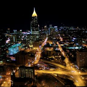 Downtown Atlanta Night Scene by Jermaine Pollard - Buildings & Architecture Office Buildings & Hotels