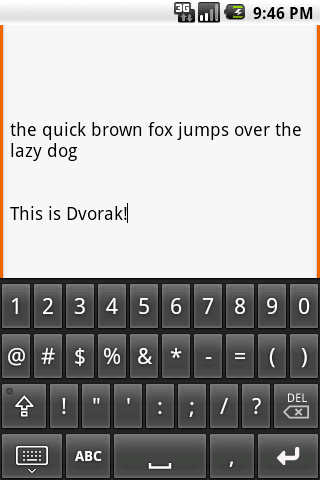 Dvorak keyboard - screenshot