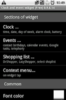 Screenshot of Clock and event widget