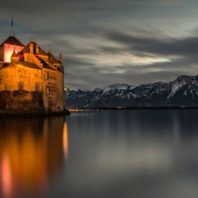 Castle of the alps by Romain Bruot - Buildings & Architecture Public & Historical ( château, mountain, montagne, lake, castle, alpes, lac, alps )